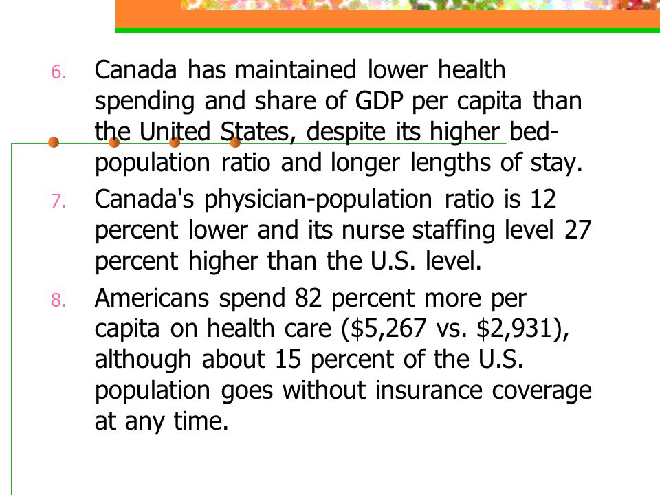 Canada has maintained lower health spending and share of GDP per capita than the United States, despite its higher bed-population ratio and longer lengths of stay.
