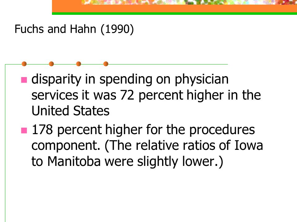 Fuchs and Hahn (1990) disparity in spending on physician services it was 72 percent higher in the United States.