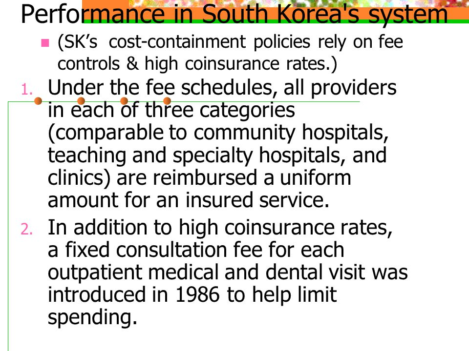 Performance in South Korea s system