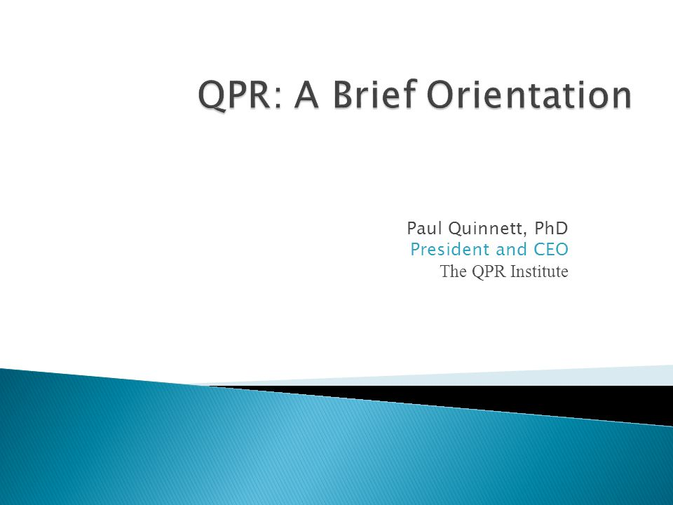 QPR: A Brief Orientation