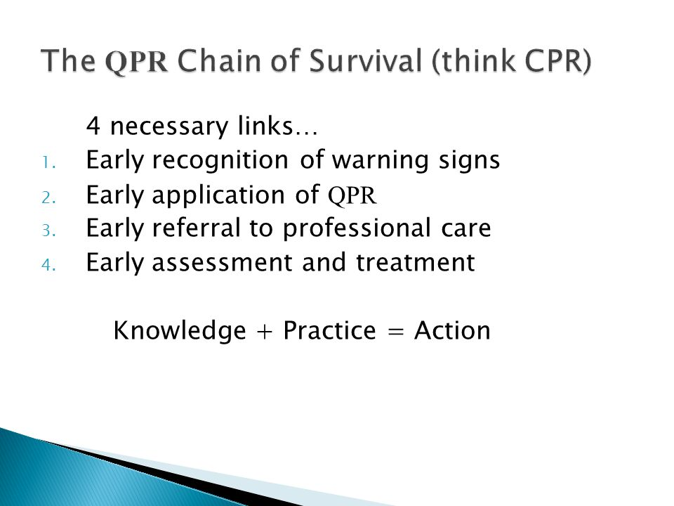 The QPR Chain of Survival (think CPR)