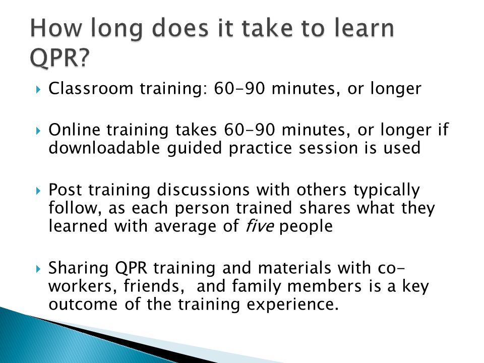 How long does it take to learn QPR