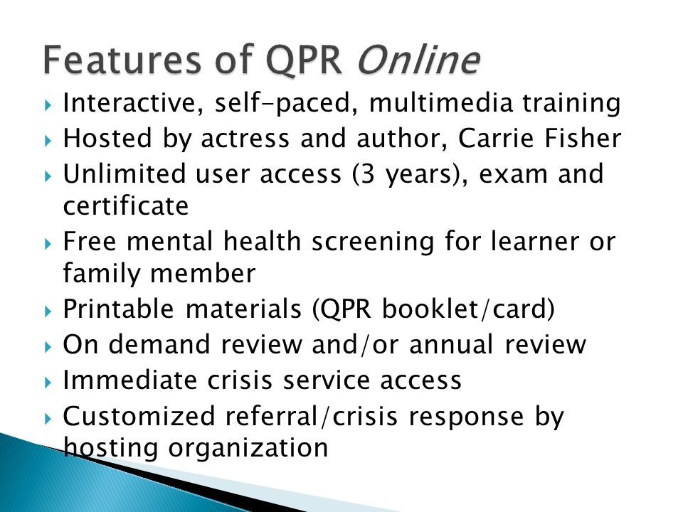 Features of QPR Online Interactive, self-paced, multimedia training