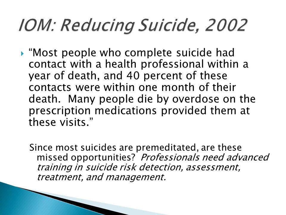 IOM: Reducing Suicide, 2002