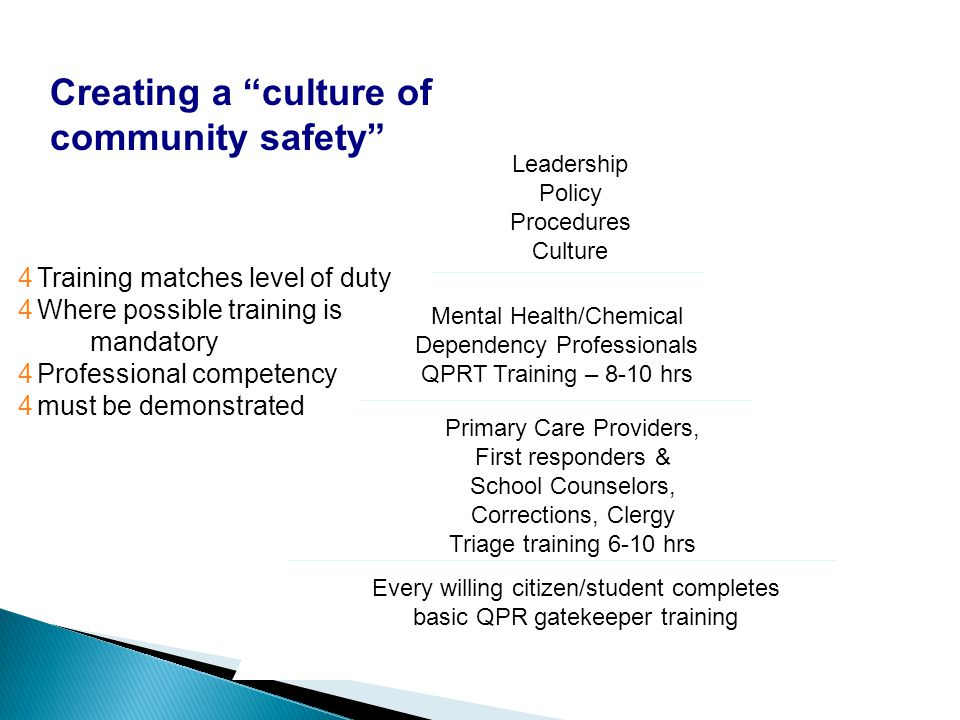 Creating a culture of community safety