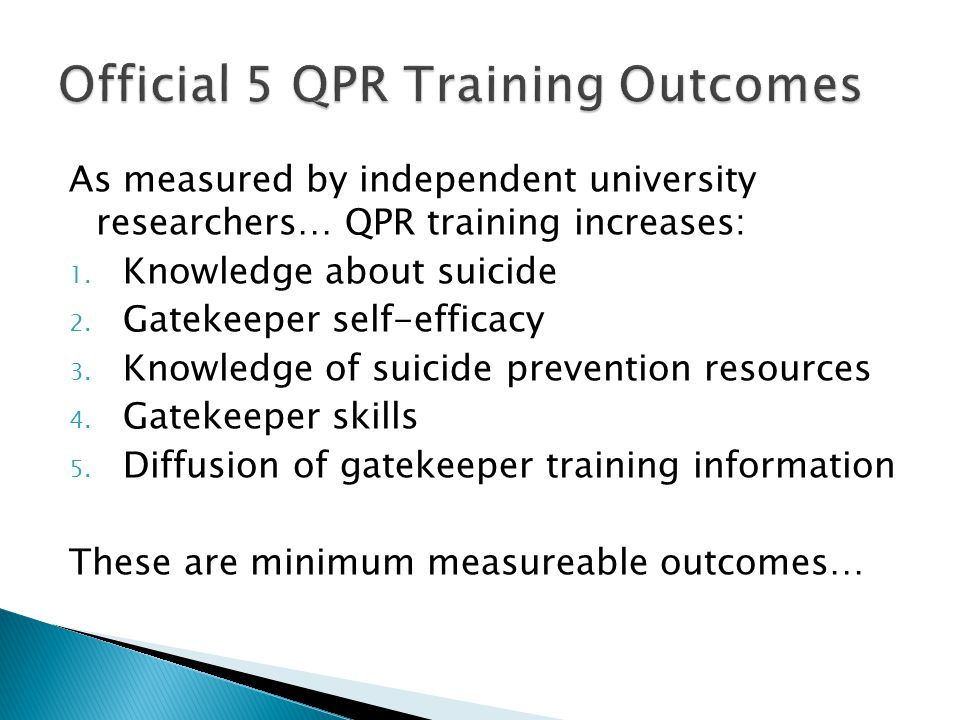Official 5 QPR Training Outcomes