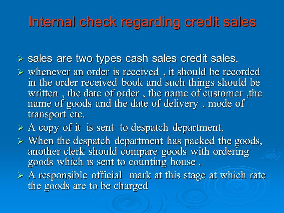 Internal check regarding credit sales
