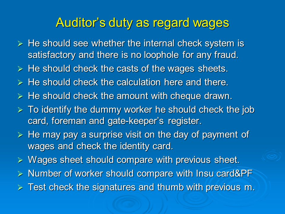 Auditor's duty as regard wages