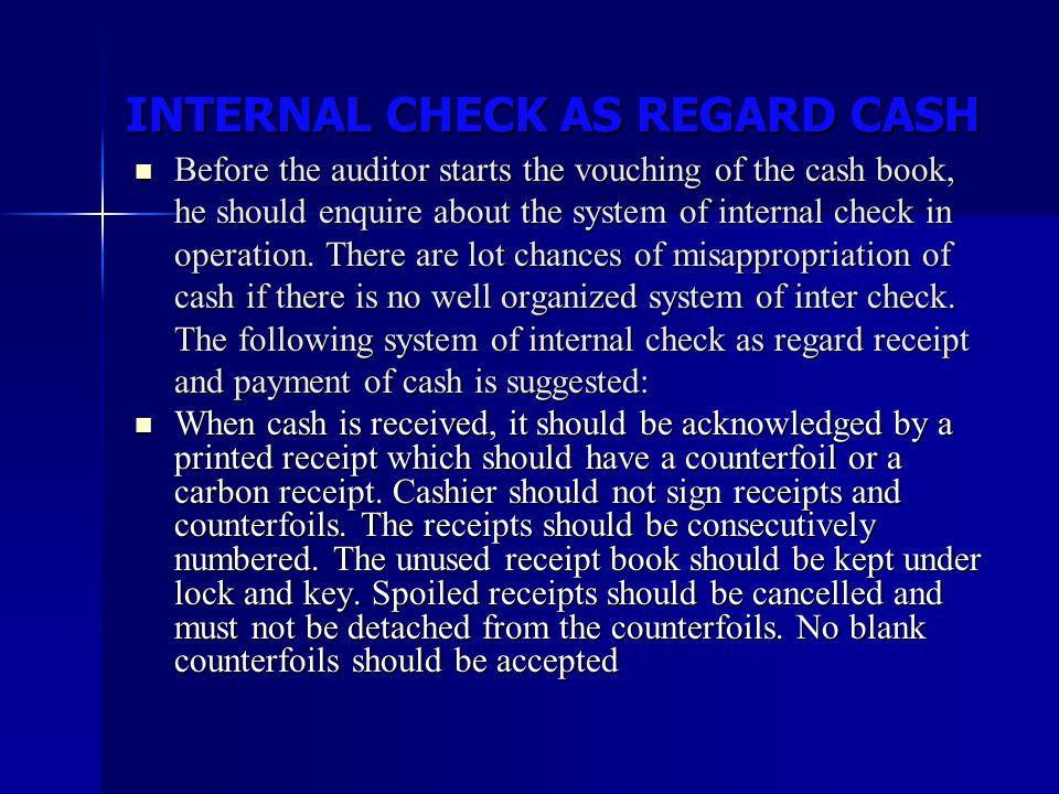 INTERNAL CHECK AS REGARD CASH