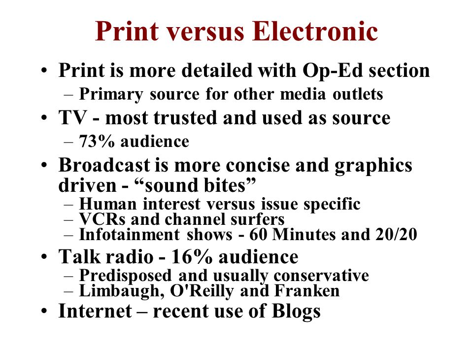 Print versus Electronic
