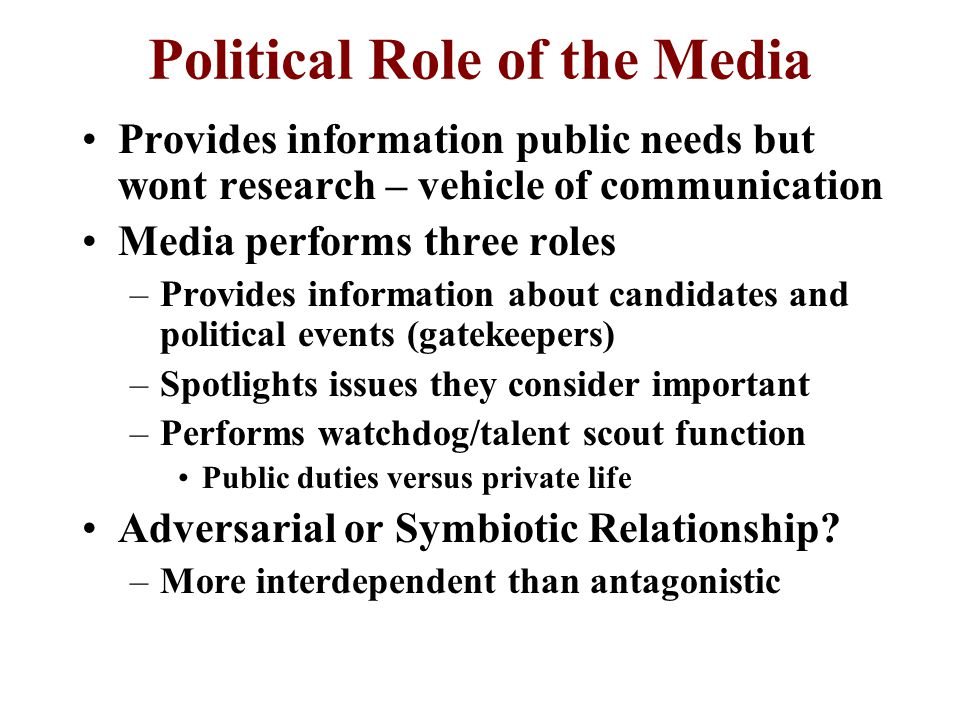 role of media on public News media functions in policy making  about  emphasized a media role in  to news and opinion and the influence of the mass media on the public and.