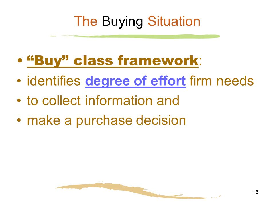 The Buying Situation Buy class framework: identifies degree of effort firm needs. to collect information and.