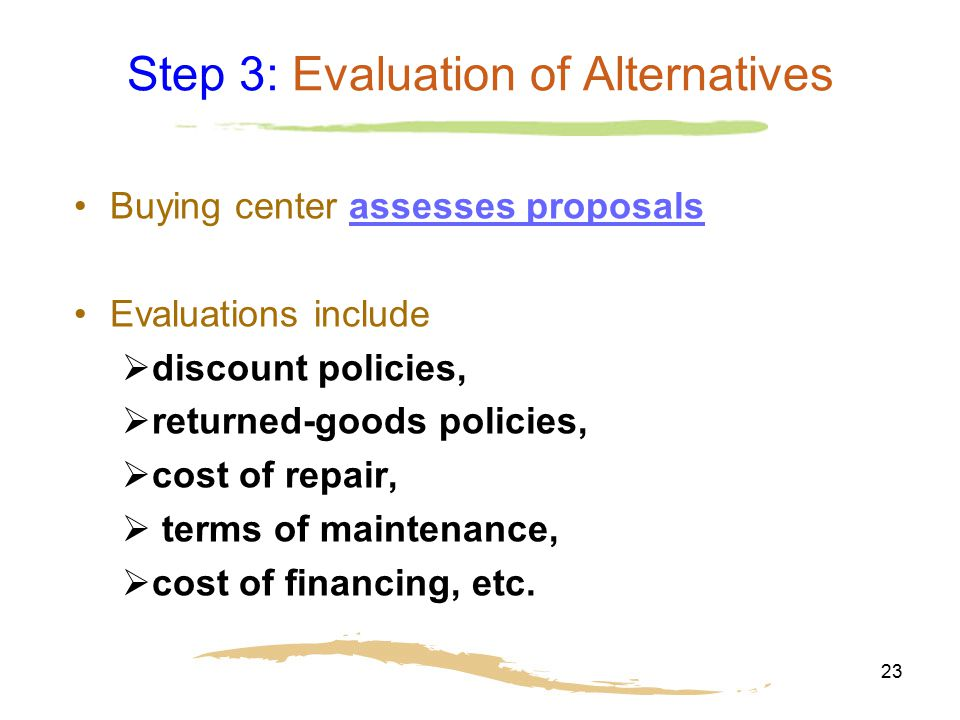 Step 3: Evaluation of Alternatives