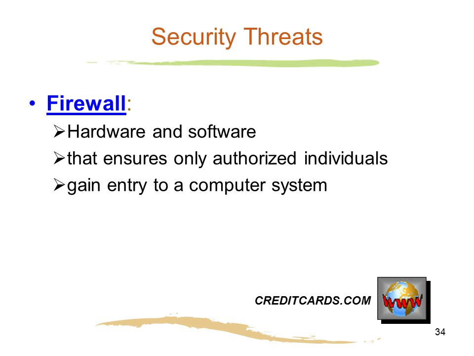 Security Threats Firewall: Hardware and software