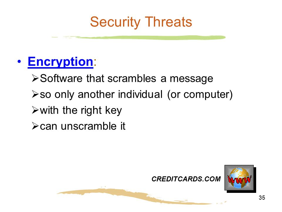 Security Threats Encryption: Software that scrambles a message