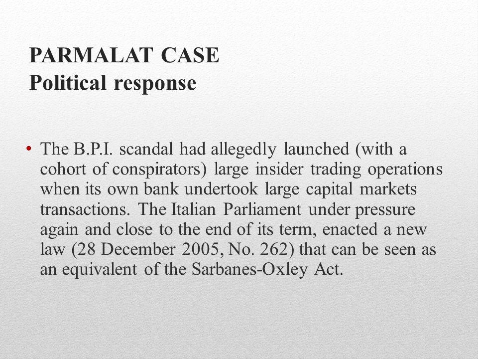PARMALAT CASE Political response