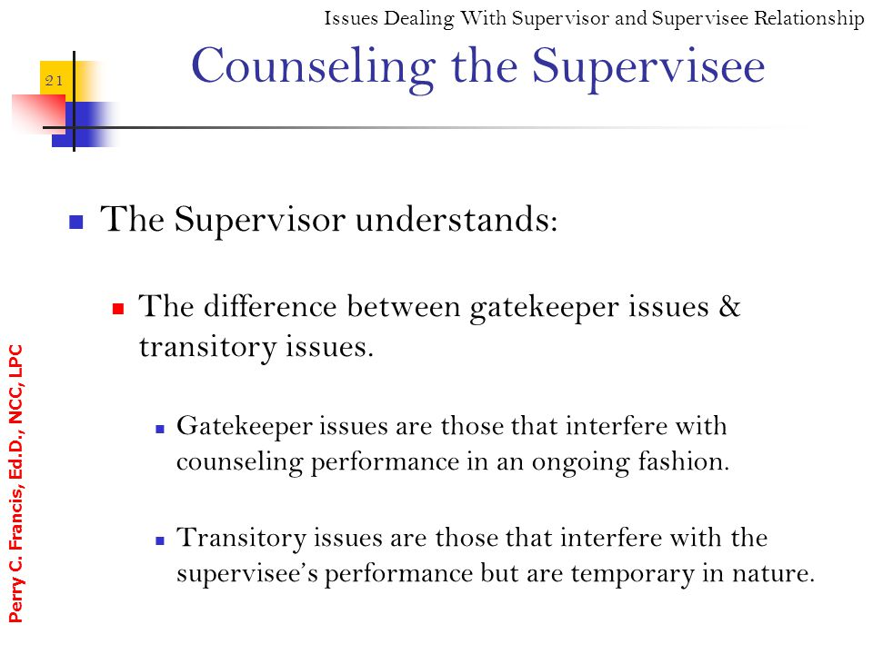 Counseling the Supervisee