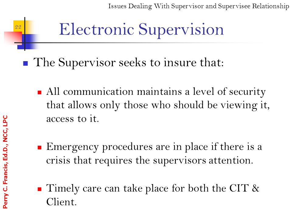 Electronic Supervision