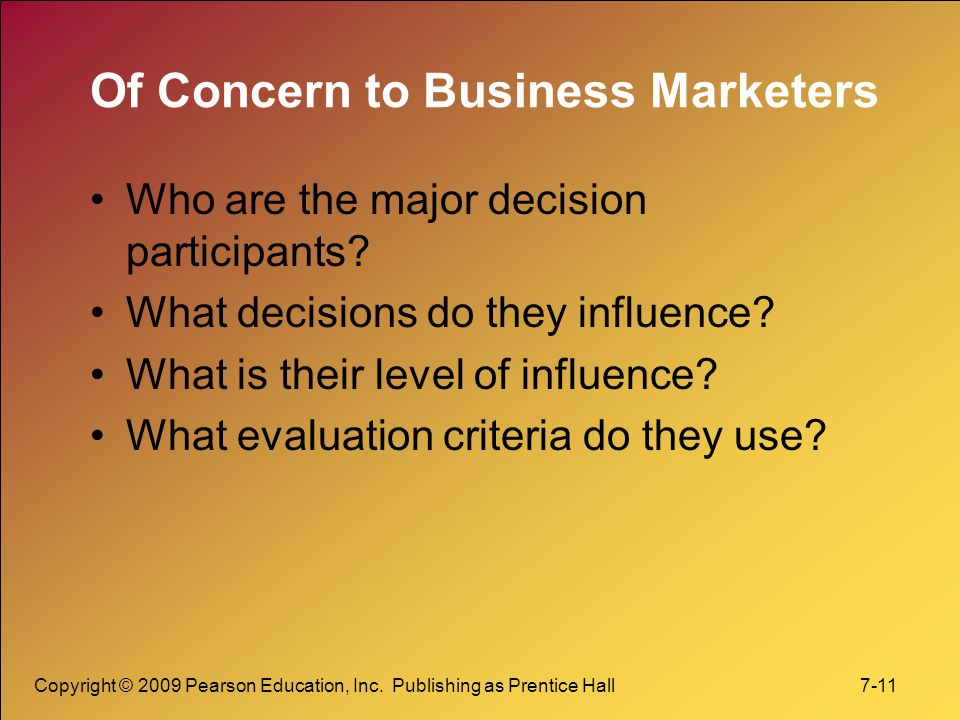 Of Concern to Business Marketers