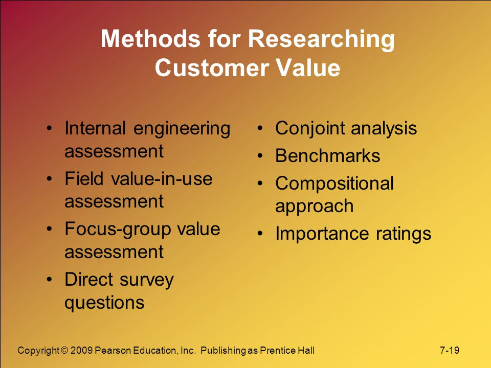 Methods for Researching Customer Value