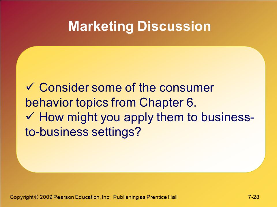 Marketing Discussion Consider some of the consumer