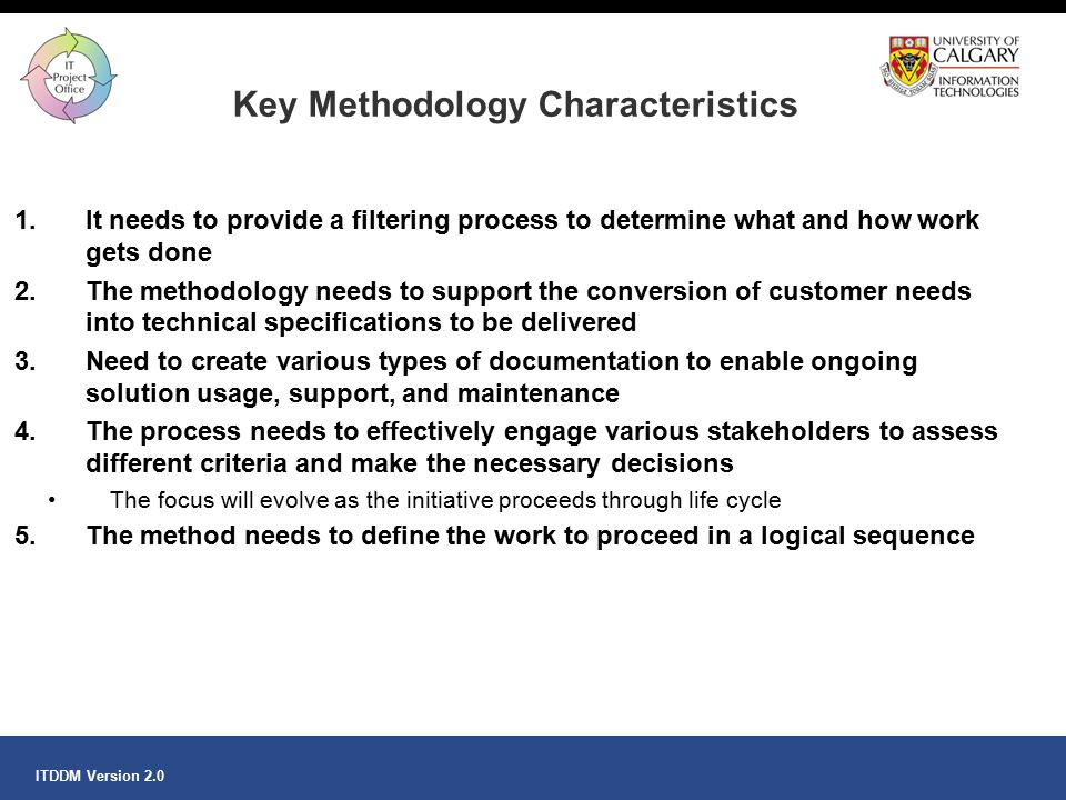 Key Methodology Characteristics