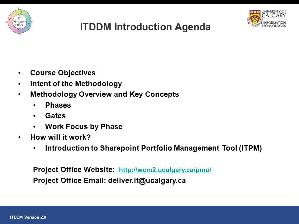 ITDDM Introduction Agenda