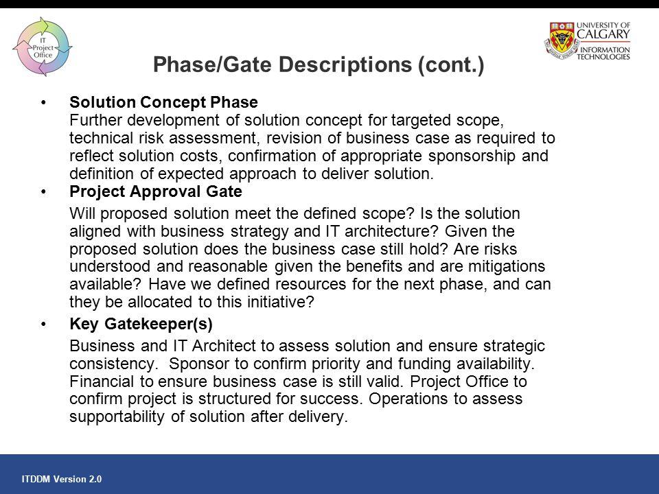 Phase/Gate Descriptions (cont.)