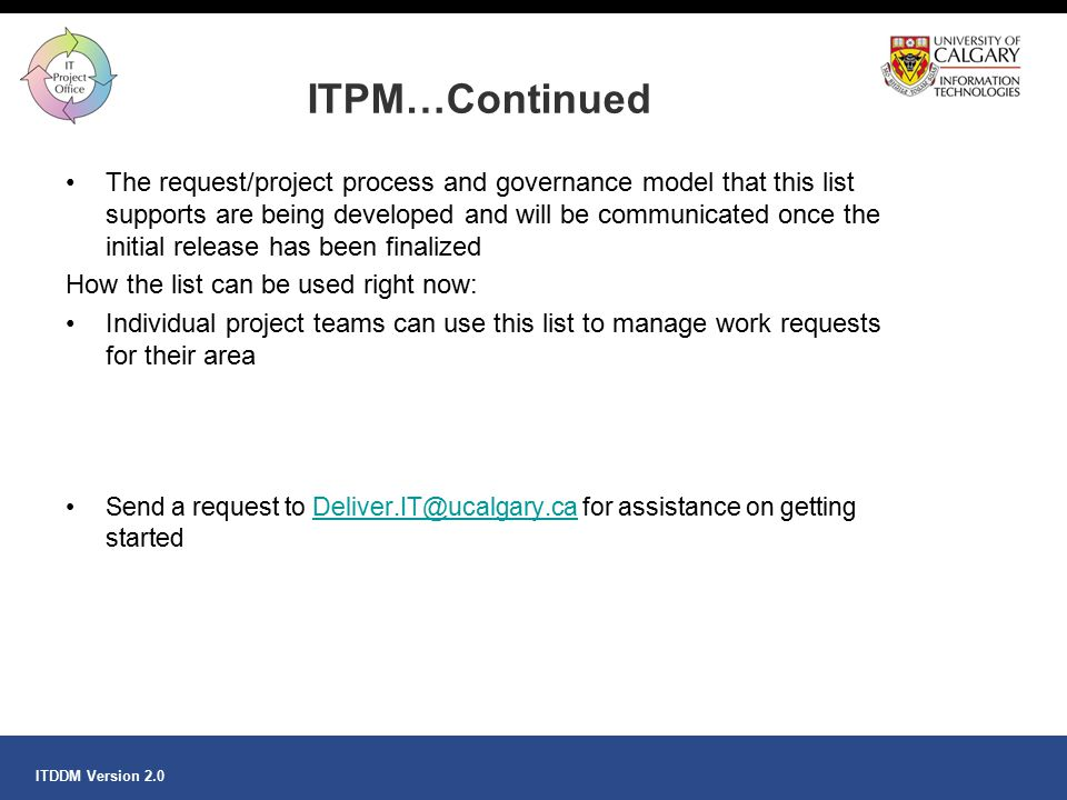 ITPM…Continued