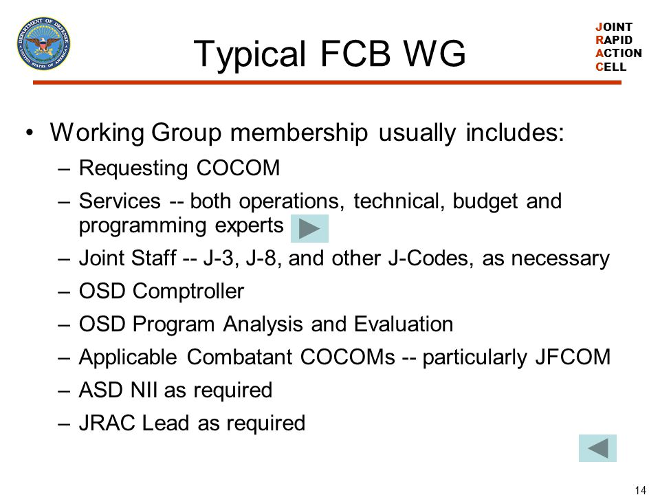 Typical FCB WG Working Group membership usually includes: