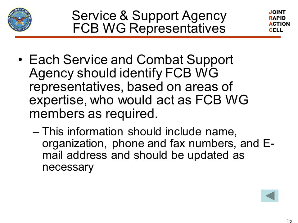 Service & Support Agency FCB WG Representatives