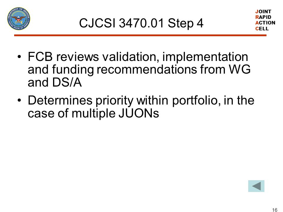 CJCSI 3470.01 Step 4 FCB reviews validation, implementation and funding recommendations from WG and DS/A.