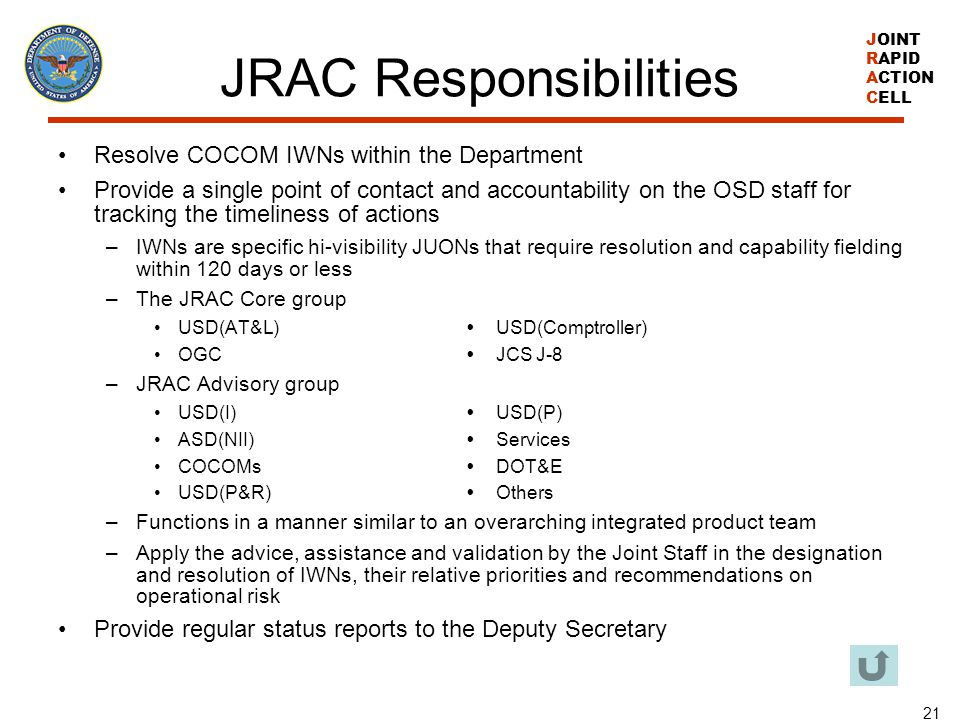 JRAC Responsibilities