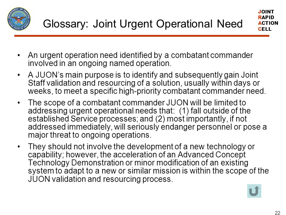 Glossary: Joint Urgent Operational Need