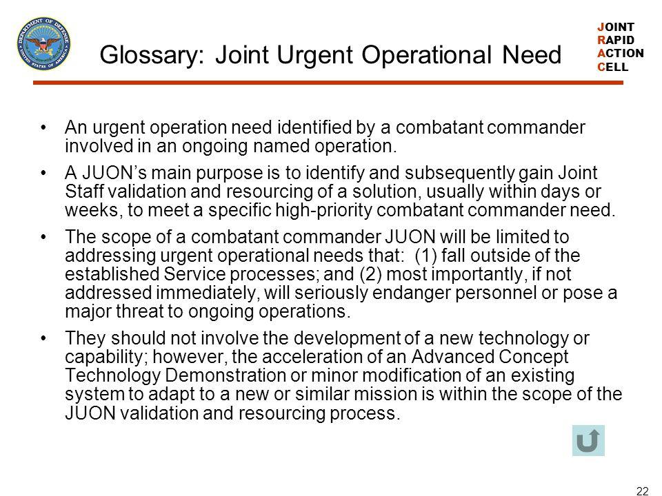 Glossary: Joint Urgent Operational Need