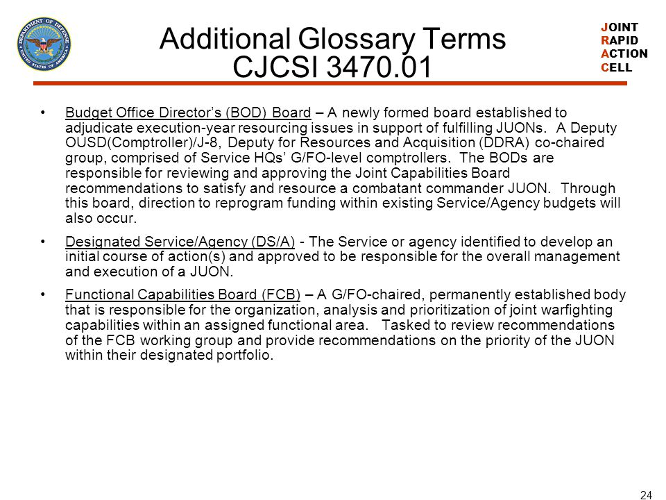 Additional Glossary Terms CJCSI 3470.01