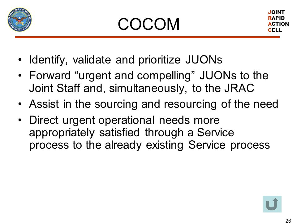 COCOM Identify, validate and prioritize JUONs