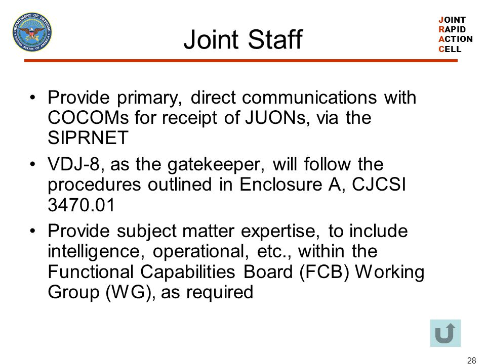 Joint Staff Provide primary, direct communications with COCOMs for receipt of JUONs, via the SIPRNET.