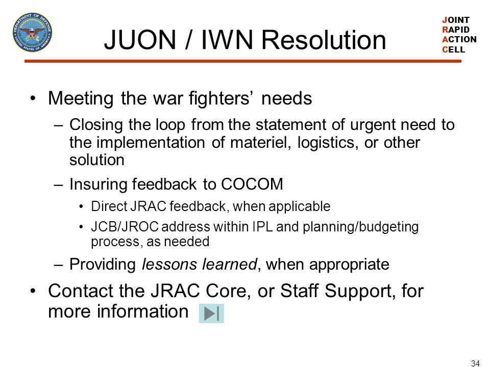 JUON / IWN Resolution Meeting the war fighters' needs
