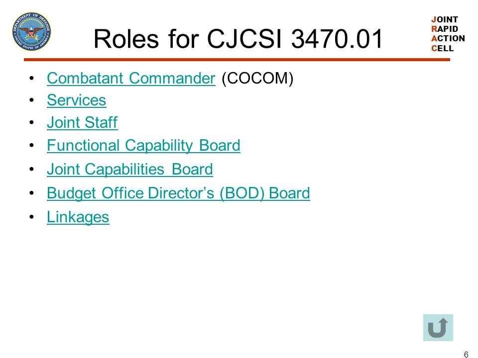 Roles for CJCSI 3470.01 Combatant Commander (COCOM) Services
