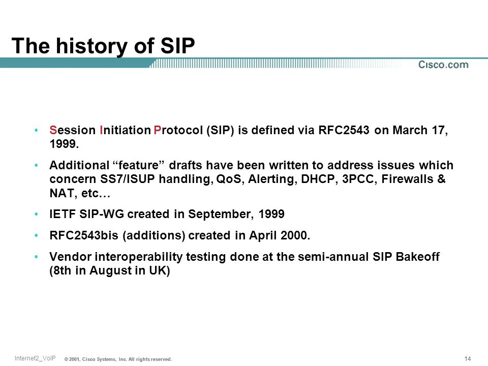 The history of SIP Session Initiation Protocol (SIP) is defined via RFC2543 on March 17, 1999.