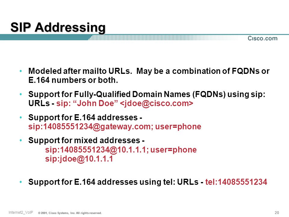 SIP Addressing Modeled after mailto URLs. May be a combination of FQDNs or E.164 numbers or both.