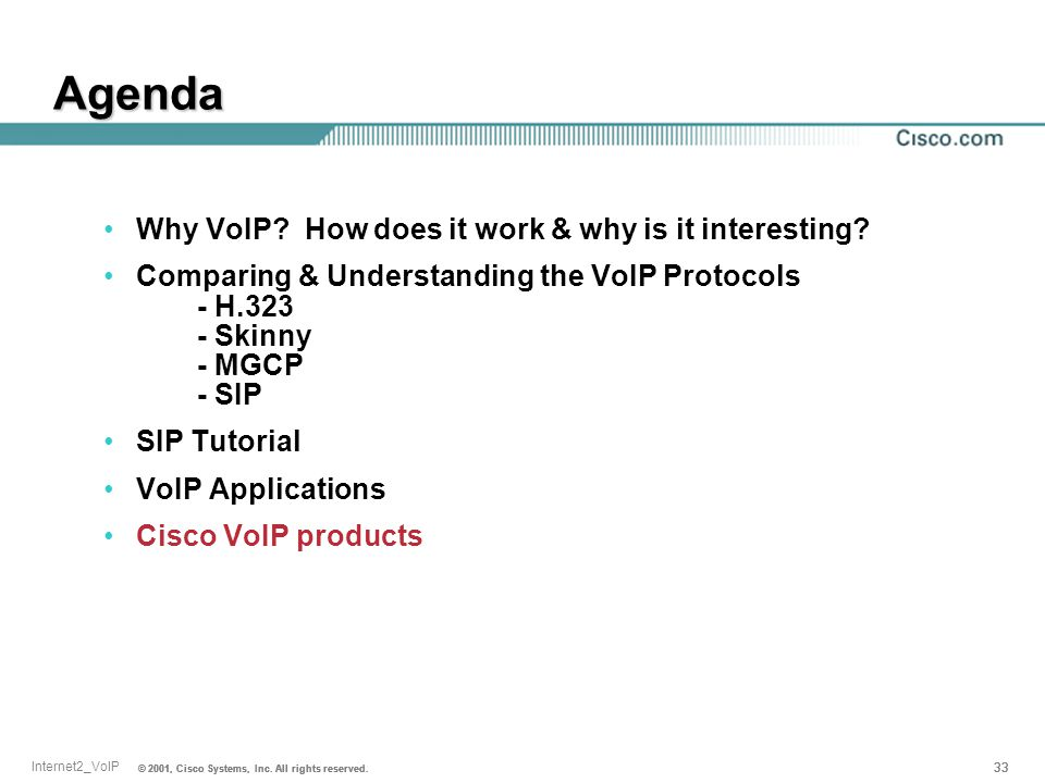 Agenda Why VoIP How does it work & why is it interesting