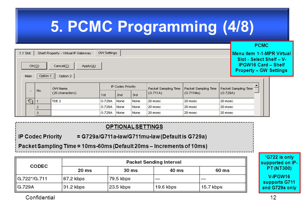 5. PCMC Programming (4/8) OPTIONAL SETTINGS