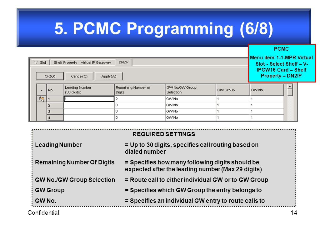 5. PCMC Programming (6/8) REQUIRED SETTINGS