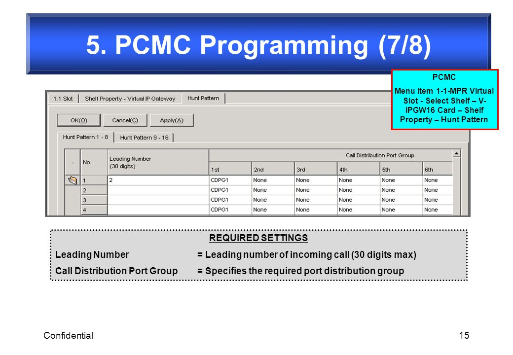 5. PCMC Programming (7/8) REQUIRED SETTINGS