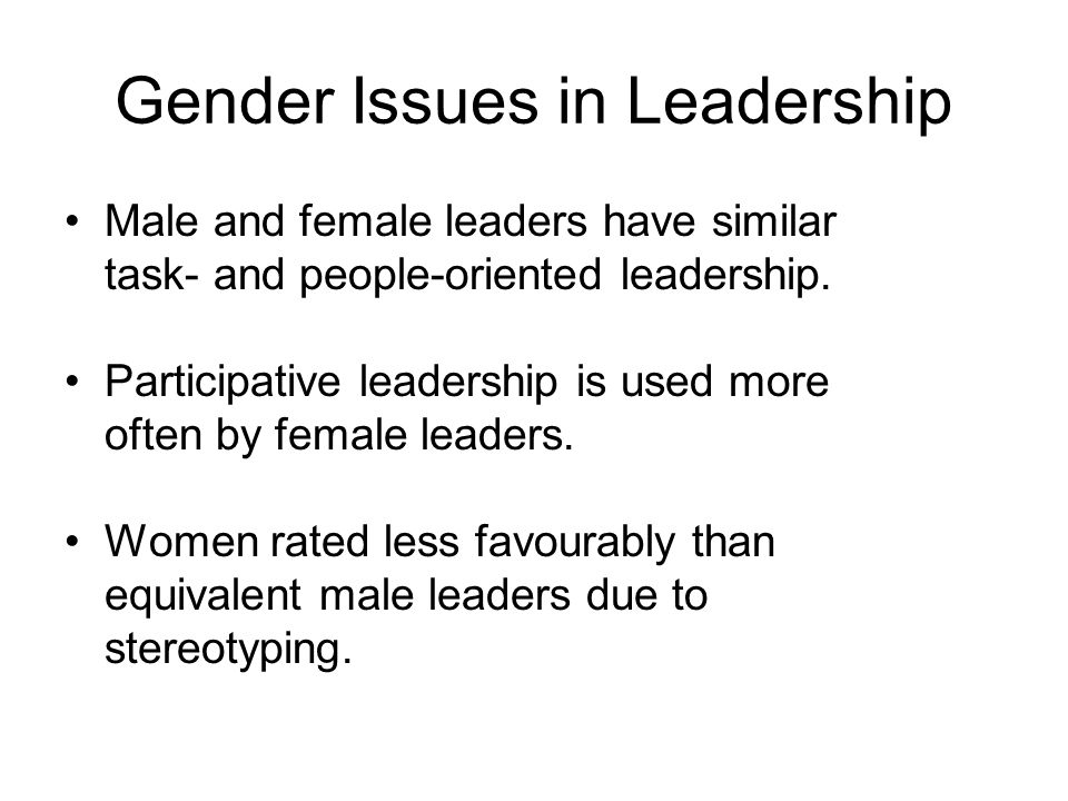 Gender Issues in Leadership