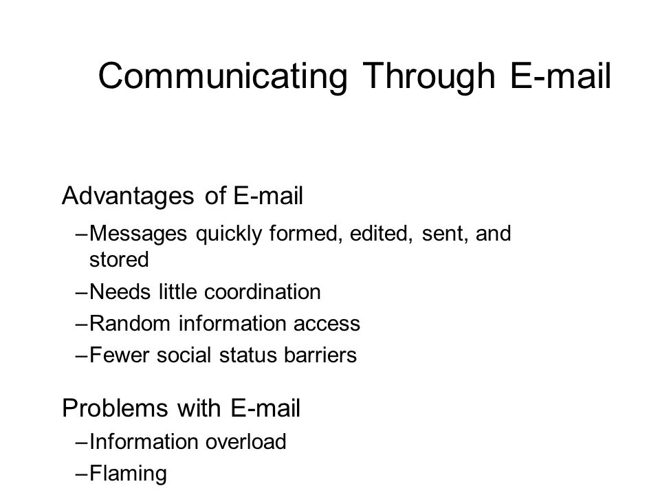 Communicating Through E-mail