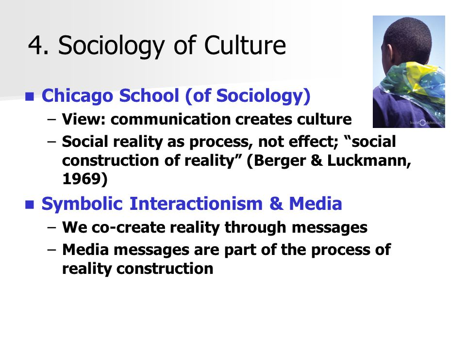 4. Sociology of Culture Chicago School (of Sociology)