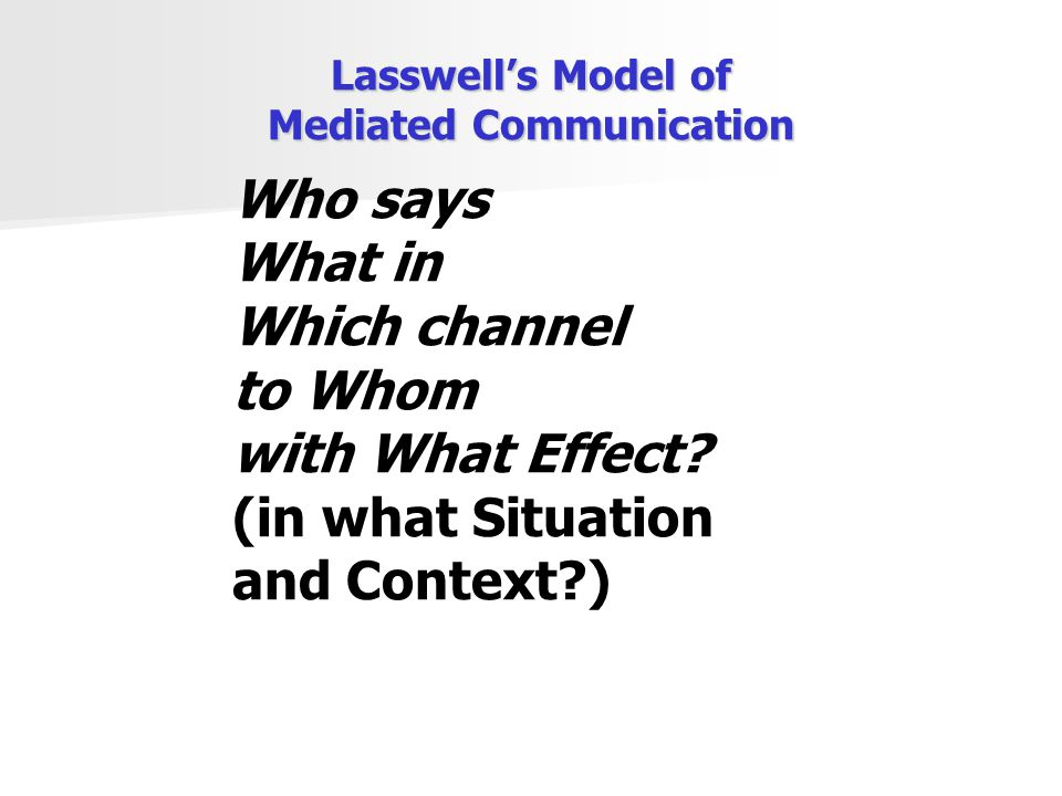 Lasswell's Model of Mediated Communication